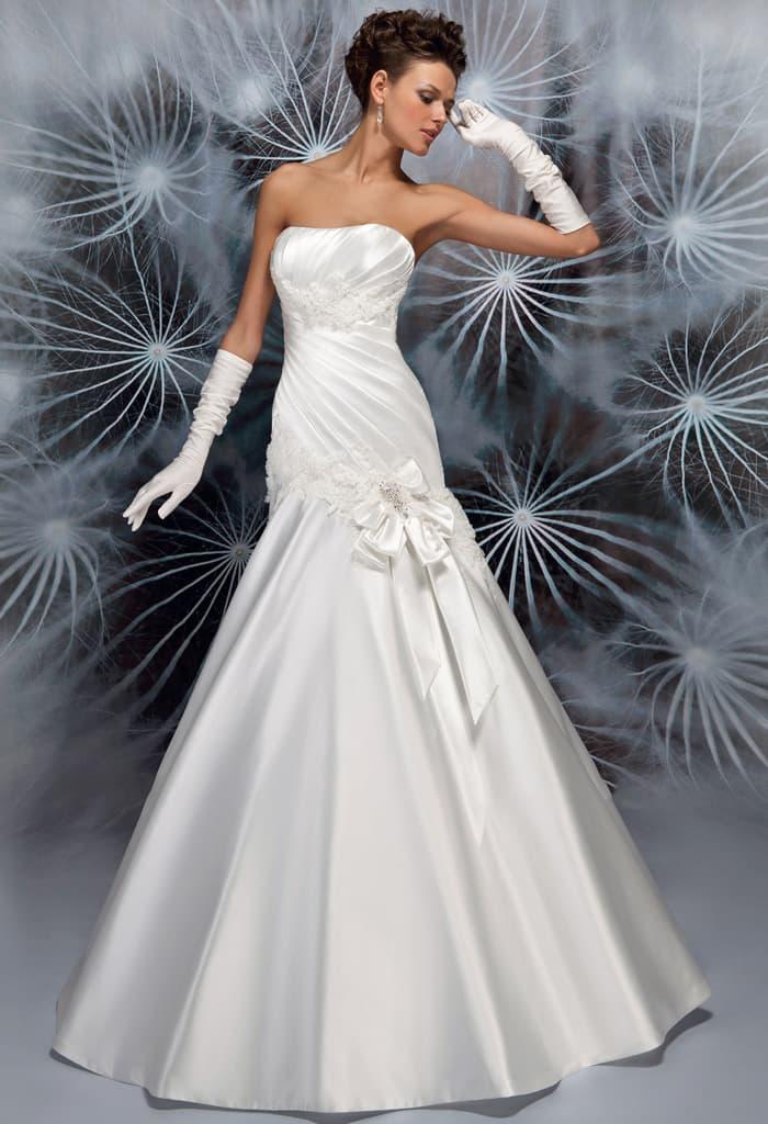 Сияющее свадебное платье из атласной ткани, с юбкой «русалка».