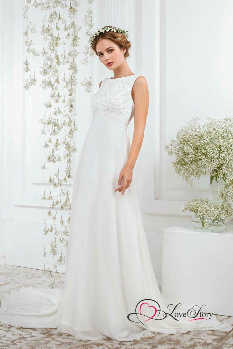 Ампирное свадебное платье с нежным кружевом на лифе с завышенной талией.