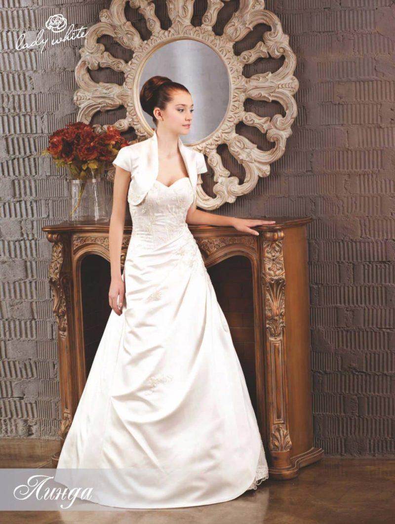 Свадебное платье А-силуэта с атласным болеро.
