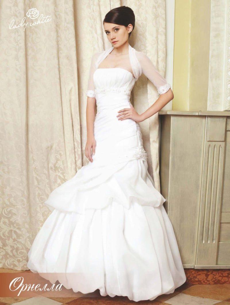 """Свадебное платье """"русалка"""" с полупрозрачным болеро."""