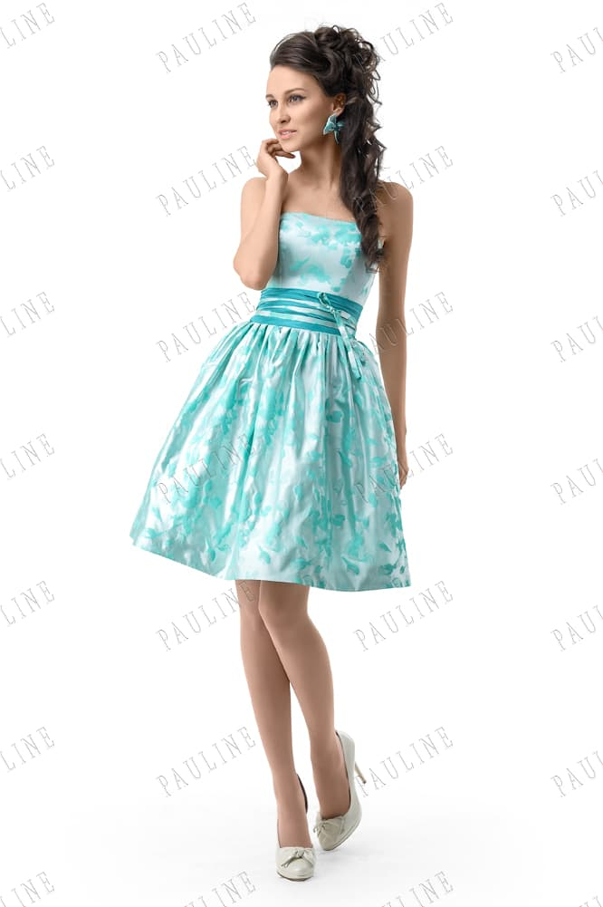 Лазурное вечернее платье с открытым корсетом и аппликациями по юбке.