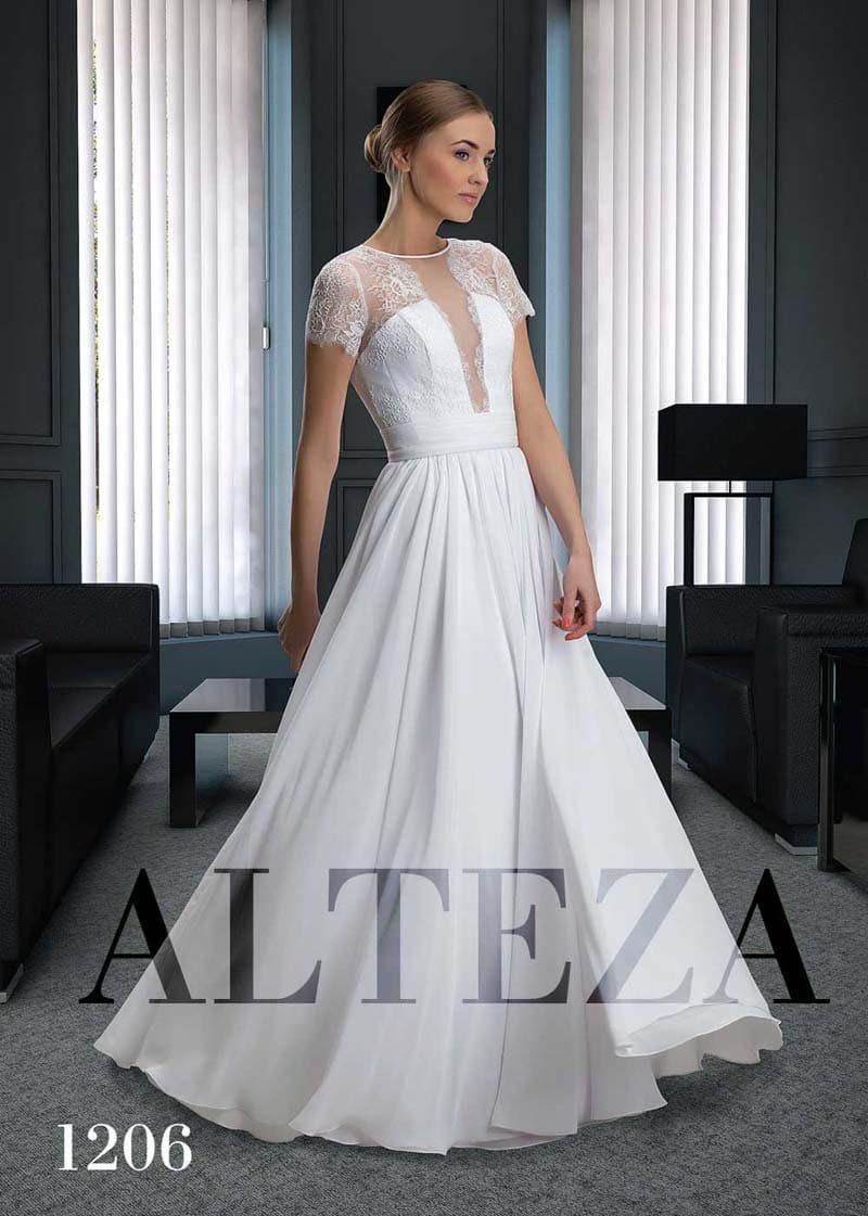 Прямое свадебное платье с коротким элегантным рукавом и шифоновой юбкой.