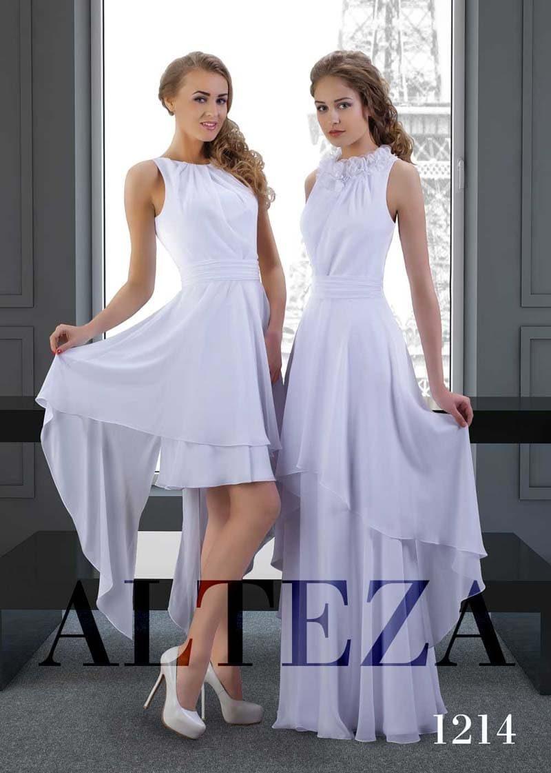 Ампирное свадебное платье с двумя вариантами длины юбки.