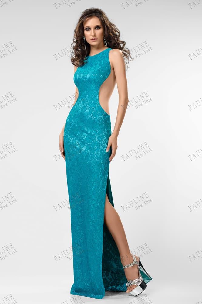 Глянцевое вечернее платье бирюзового цвета с вырезами по бокам.