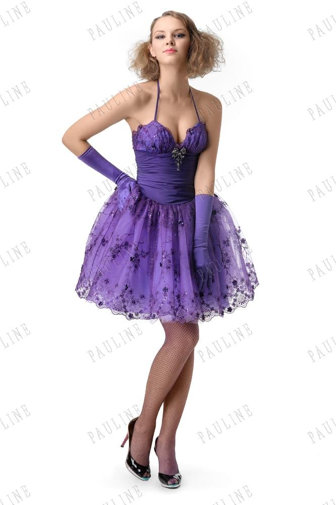 Сиреневое вечернее платье с пышной юбкой до колена и тонкими бретелями.