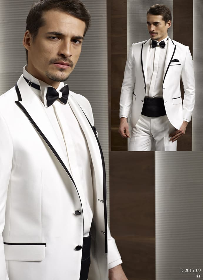 ▶▶Элегантный мужской свадебный костюм белого цвета с контрастной черной отделкой ☎ +7 495 724 26 05 ▶▶ Свадебный центр Вега Ⓜ Петровско-Разумовская