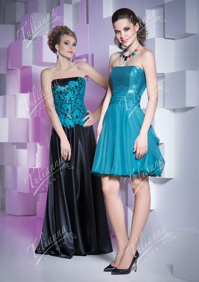 Вечернее бирюзовое платье с изящным открытым лифом.