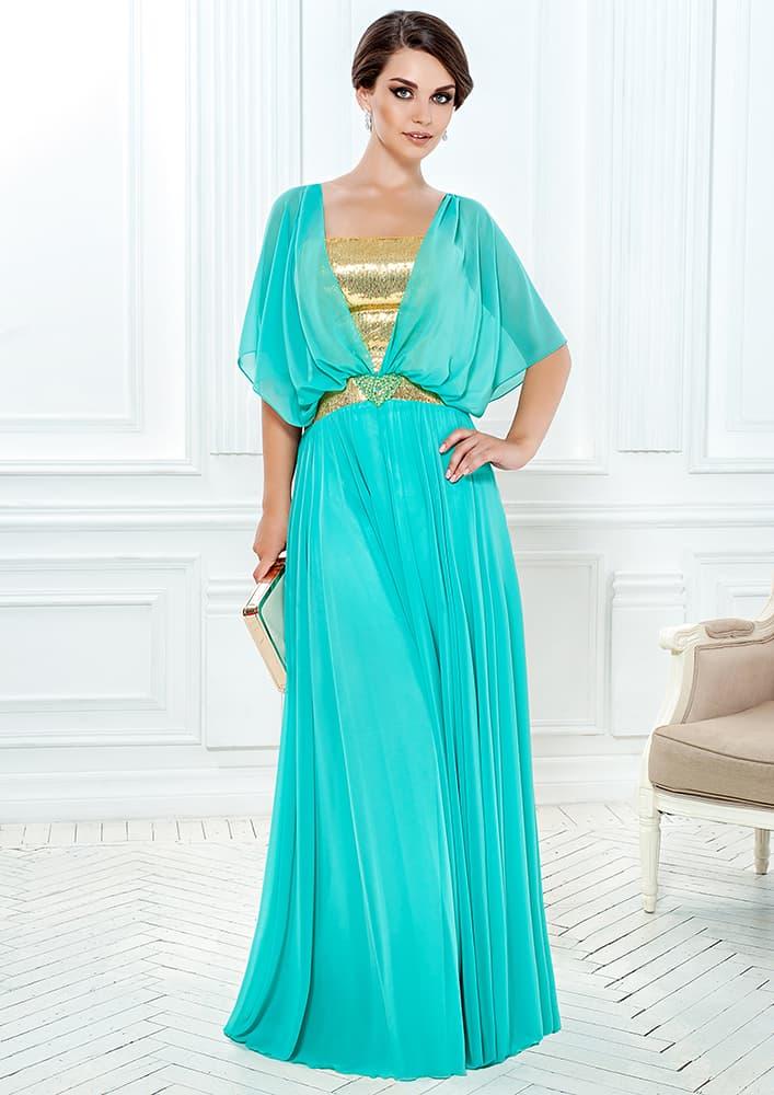 Вечернее платье в греческом стиле с золотистым корсетом.