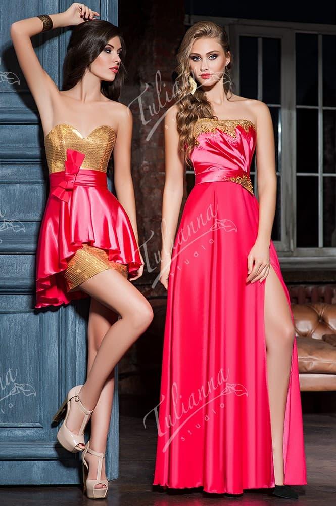 Сверкающее вечернее платье с золотистым декором верха.