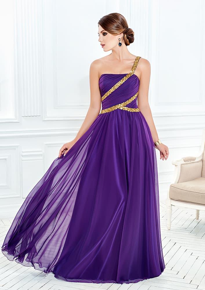 Эффектное вечернее платье с золотистой отделкой открытого верха.