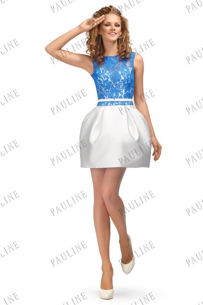 Атласное вечернее платье с пышной юбкой и голубым кружевом на лифе.
