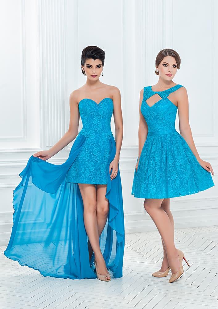 Голубое вечернее платье с романтичной кружевной отделкой.