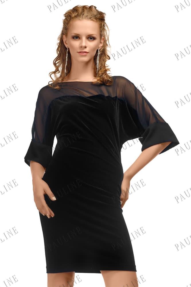 Эффектное вечернее платье черного цвета с полупрозрачным декором лифа.