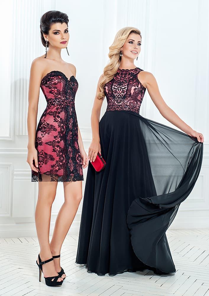 Выразительное вечернее платье с глянцевой подкладкой под черным кружевом.