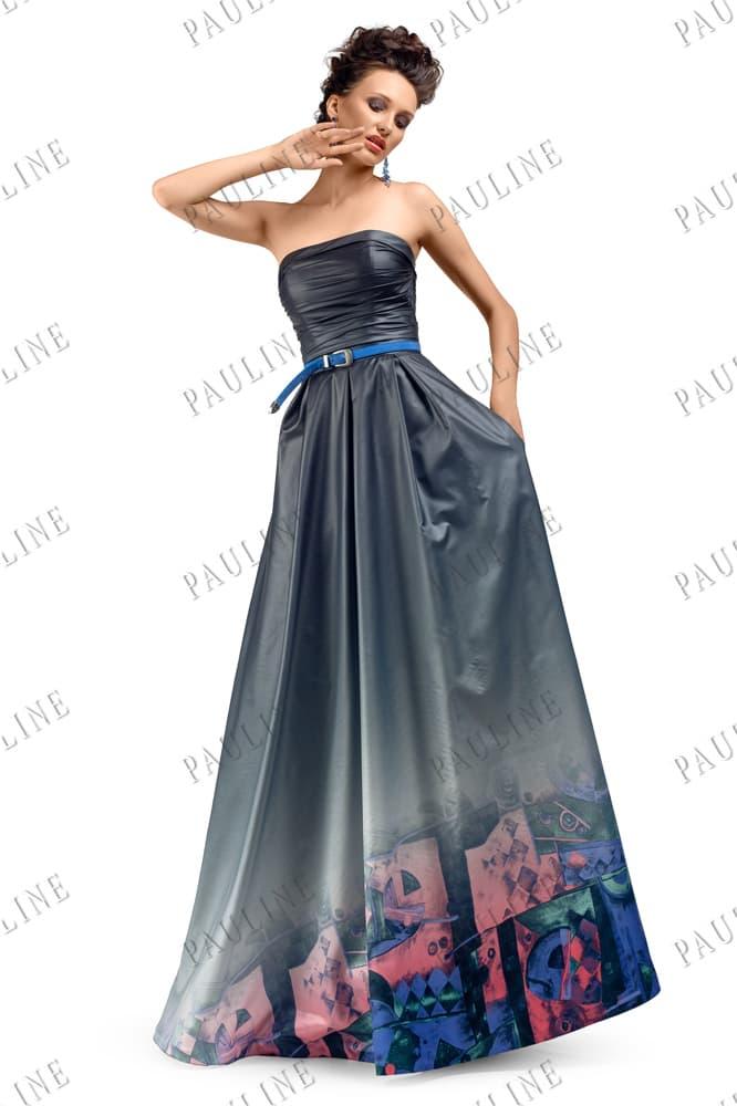 Оригинальное вечернее платье серого цвета с лифом прямого кроя и принтом на юбке.