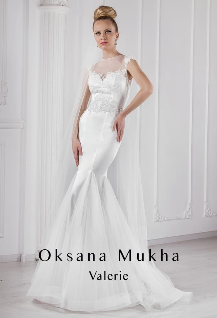 Чувственное свадебное платье «рыбка» с полупрозрачной вставкой над лифом.