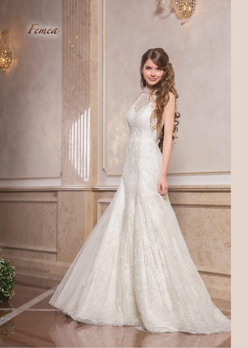 Кружевное свадебное платье «русалка» с американской проймой.