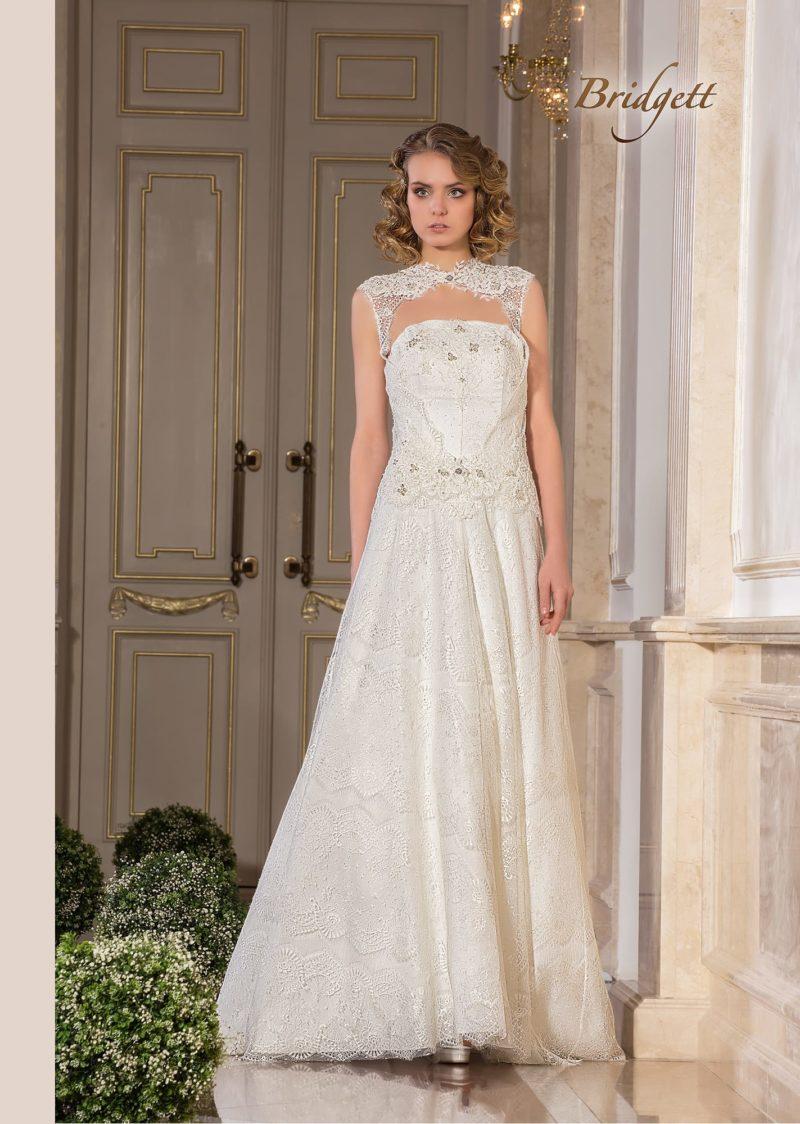 Свадебное платье «принцесса» с кружевным болеро без рукавов.