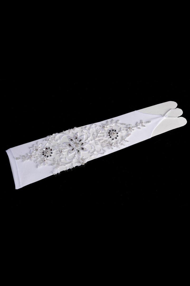 Торжественные свадебные перчатки с открытыми пальцами и вышивкой.