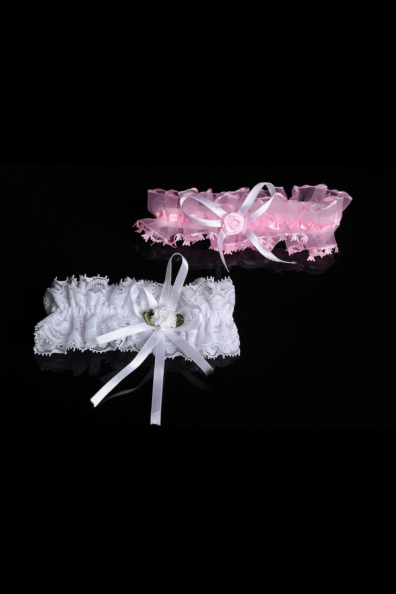 Кружевная подвязка в двух вариантах – белом и розовом.