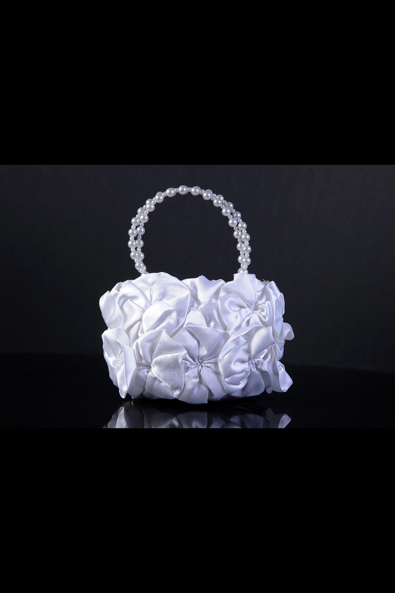 Белоснежная атласная сумочка для невесты, полностью покрытая небольшими бантами.