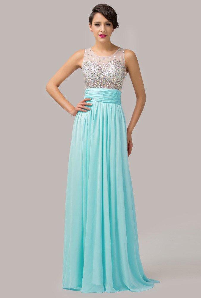 Вечернее платье с сияющим лифом, полупрозрачной спинкой и яркой юбкой.