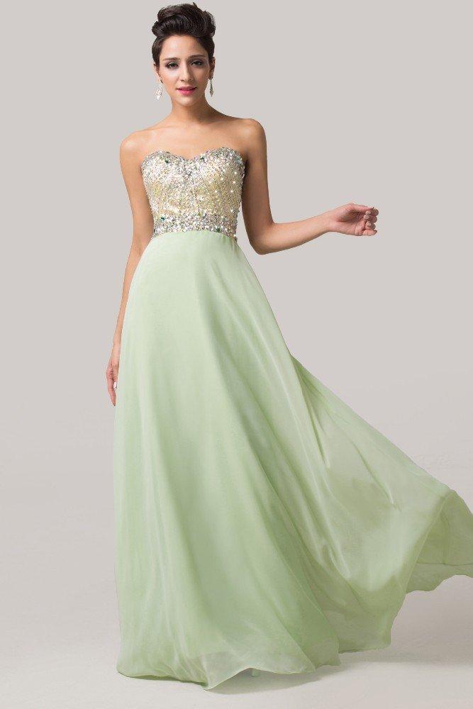 Светло-зеленое вечернее платье прямого кроя с золотистым корсетом.