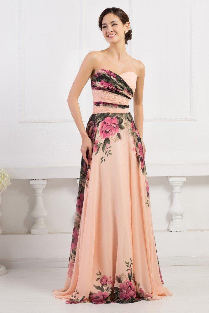Пышное вечернее платье персикового цвета с отделкой тканью с принтом.