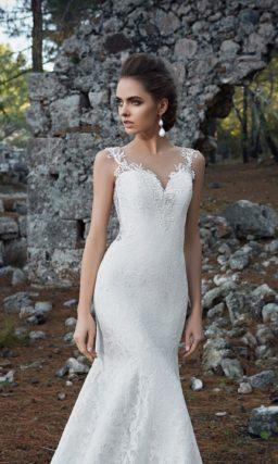 Впечатляющее свадебное платье «рыбка» со съемной верхней юбкой и соблазнительным лифом.
