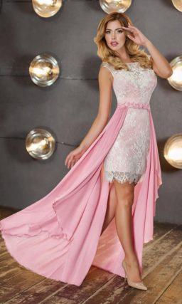 Вечернее платье-футляр с кружевным декором и длинной верхней юбкой.