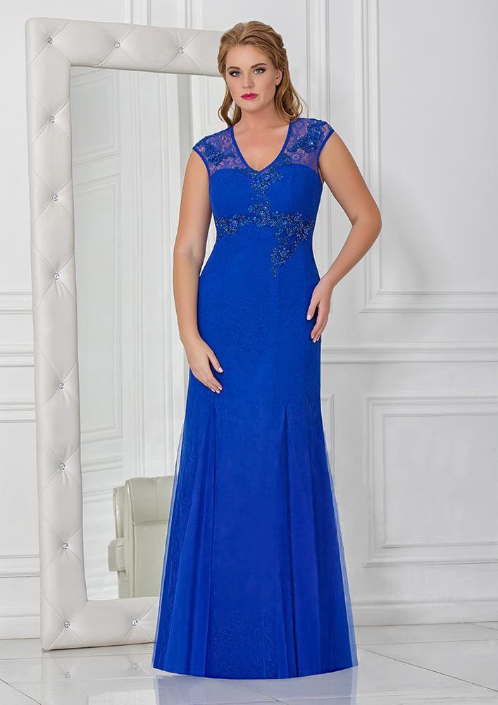 Вечернее платье с небольшим вырезом на спине и полупрозрачными бретелями.