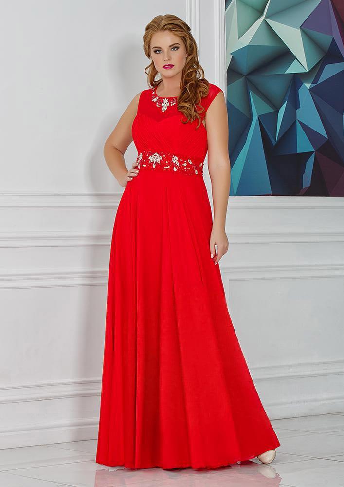 Элегантное вечернее платье  в пол с сияющей вышивкой и открытой спинкой.