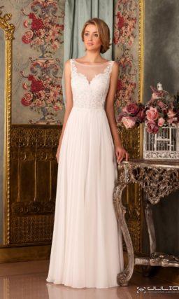 Нежное свадебное платье А-кроя с кружевной отделкой лифа.