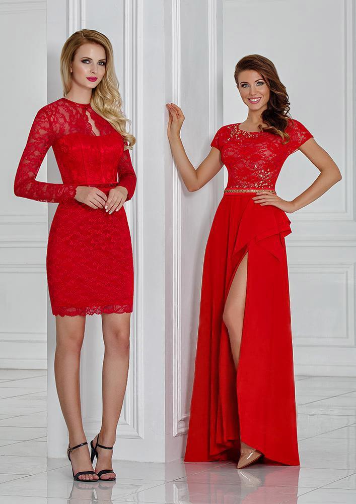 Алое вечернее платье с закрытым кружевным верхом и соблазнительной юбкой.