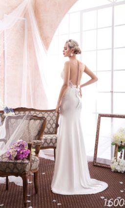Прямое свадебное платье с соблазнительной открытой спиной и кружевным лифом.