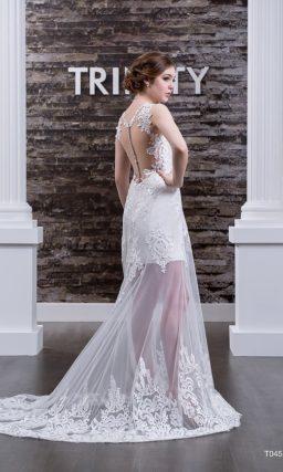 Свадебное платье «русалка» с полупрозрачной ниже середины бедра юбкой, декорированной кружевом.
