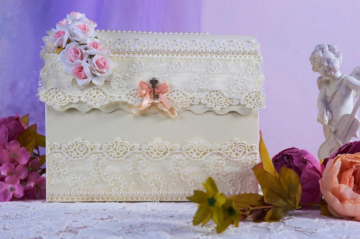 Бежевая свадебная корзинка с кружевным декором и бутонами сверху.