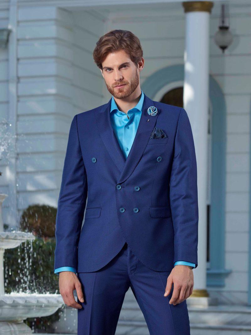 ▶▶Темно-синий мужской костюм с двубортным пиджаком и прямыми брюками.  ☎ +7 495 724 26 05 ▶▶ Свадебный центр Вега Ⓜ Петровско-Разумовская