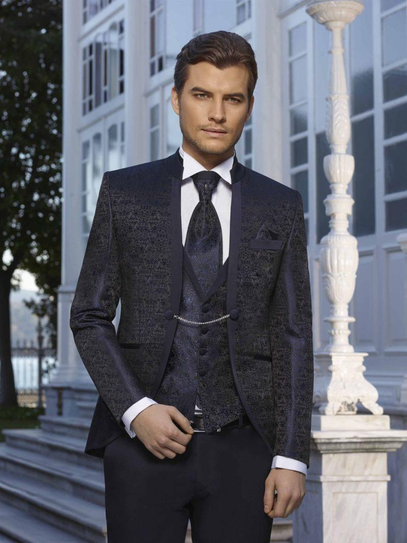 ▶▶Темно-синий мужской свадебный костюм с пиджаком на цепочке. ☎ +7 495 724 26 05 ▶▶ Свадебный центр Вега Ⓜ Петровско-Разумовская