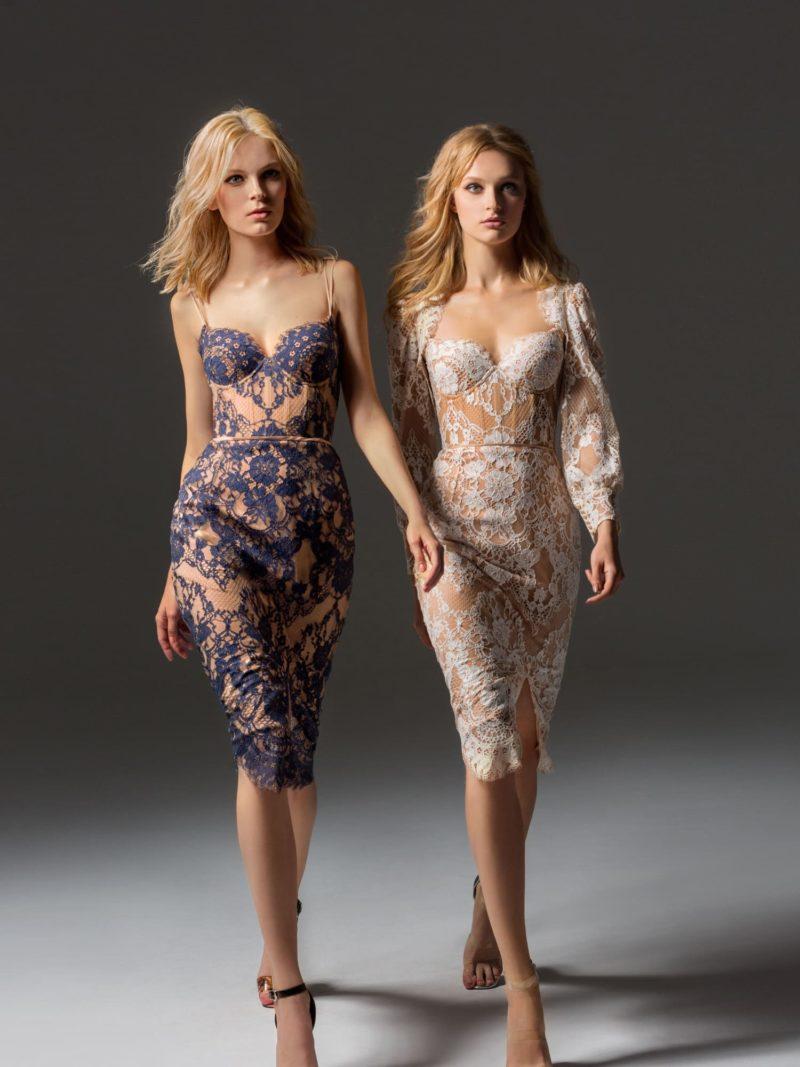 Коктейльное вечернее платье с открытым лифом на бретелях-спагетти.