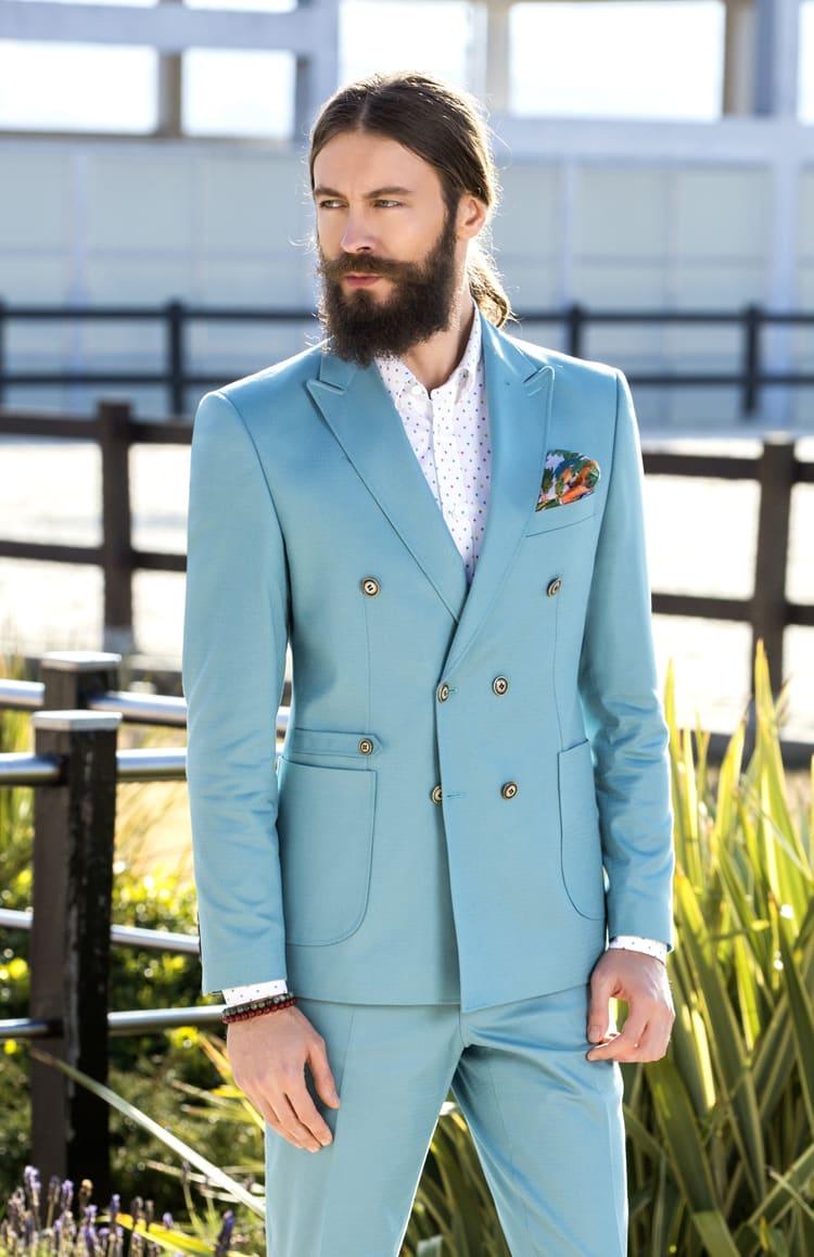 ▶▶Голубой свадебный мужской костюм с двубортным пиджаком. ☎ +7 495 724 26 05 ▶▶ Свадебный центр Вега Ⓜ Петровско-Разумовская
