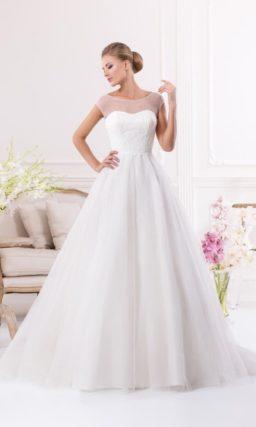 Деликатное свадебное платье с многослойной воздушной юбкой «принцесса» и вышивкой на корсете.