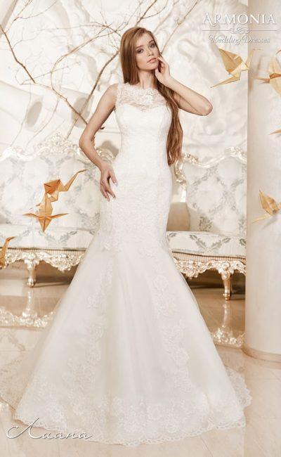 Кружевное свадебное платье с закрытым лифом и облегающим силуэтом «русалка».