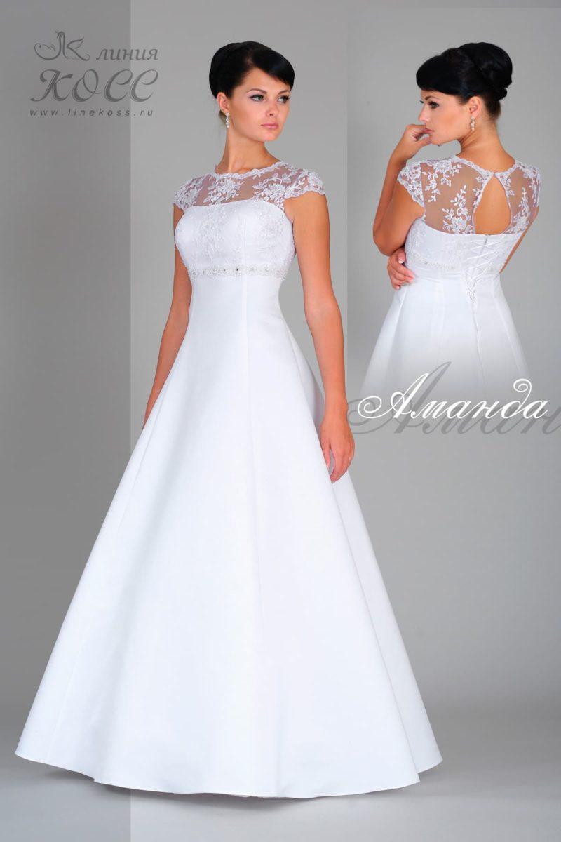 Элегантное свадебное платье «принцесса» с вырезом сзади и коротким рукавом из кружева.