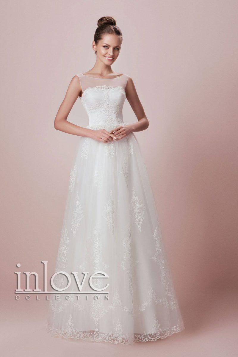 Свадебное платье «принцесса» с кружевными аппликациями и полупрозрачным лифом.
