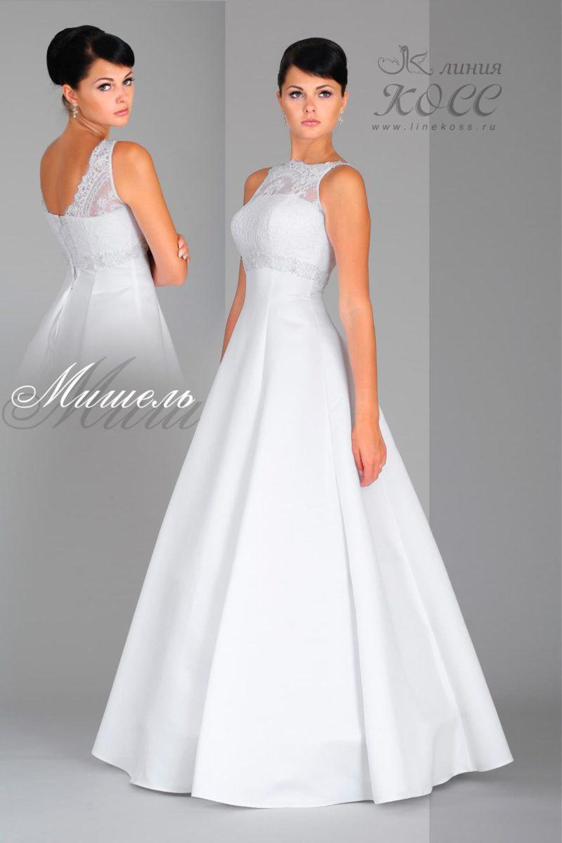 Свадебное платье с изящной юбкой А-кроя и кружевным декором верха.