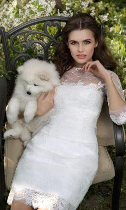 Короткое свадебное платье со скромным верхом и отделкой кружевом и тонкой тканью в горошек.