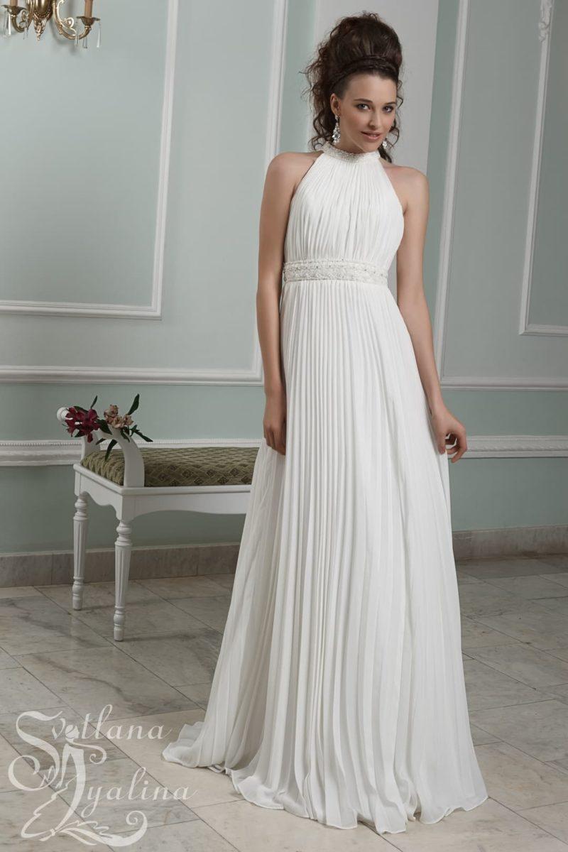 Свадебное платье в ампирном стиле с открытой спинкой и американской проймой.