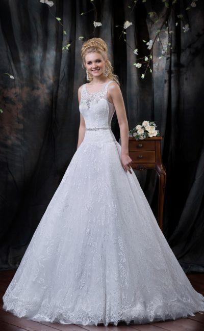 Кружевное свадебное платье «трапеция» с округлым вырезом и открытой спинкой.