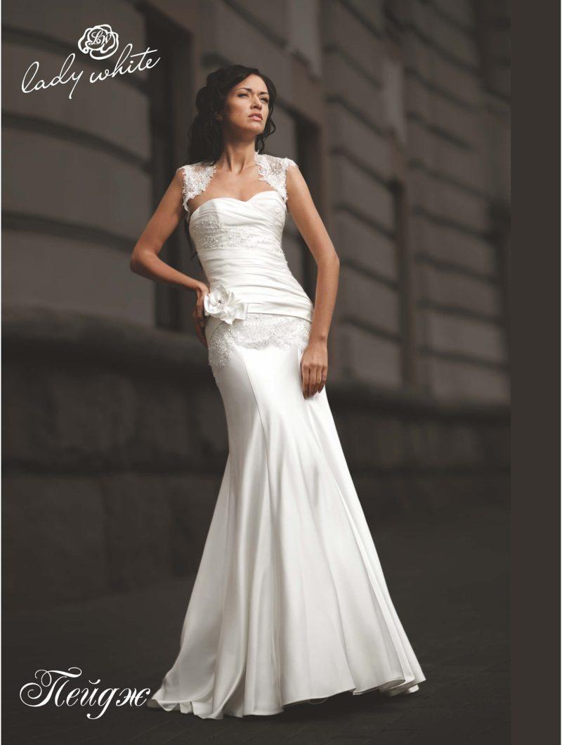 """Атласное свадебное платье """"русалка"""" с кружевными бретелями."""